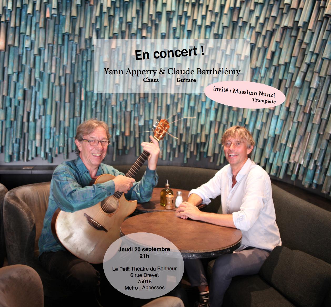 Paris Theatre de Bonheur – 20 settembre 2018 Yann Apperry-Claude Barthelemy- Masssimo Nunzi